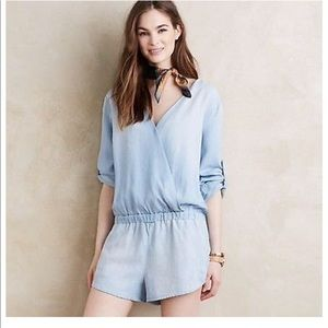 Anthropologie Chambray Romper